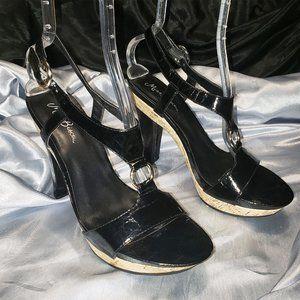 $$$ MISS BISOU black T-strap cork heels MOLLY 9.5